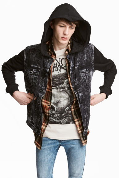 Hooded denim jacket Model
