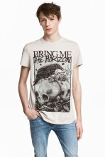 T-shirt with a print motif - Beige/Bring Me the Horizon - Men | H&M CN 1