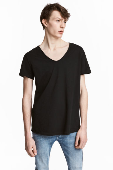 V-neck slub-jersey T-shirt - Black - Men | H&M CN 1