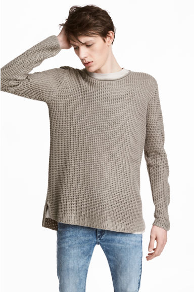 Textured-knit jumper - Mole-grey - Men | H&M CN