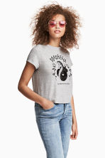 T-shirt with motif - Grey marl - Ladies | H&M 1