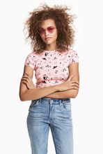 Short top - Light pink/Patterned - Ladies | H&M 1