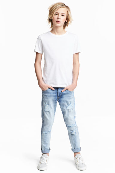 Relaxed Tapered Jeans - 浅牛仔蓝 - Kids | H&M CN 1