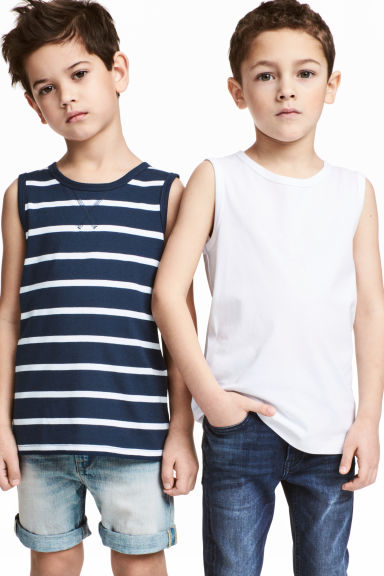 2-pack tops - Dark blue/Striped - Kids | H&M CN 1