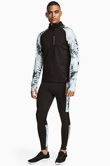 Running tights - Black/White/Patterned - Men | H&M
