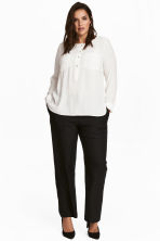 H&M+ Linen-blend trousers - Black - Ladies | H&M CN 1