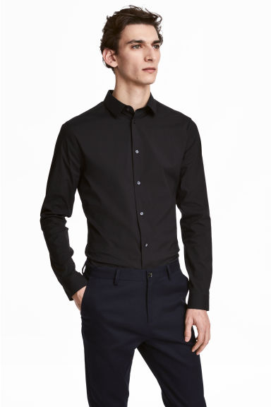 Camicia stretch Skinny fit - Nero - UOMO | H&M IT 1