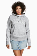 H&M+ Printed hooded top - Grey marl - Ladies | H&M 1