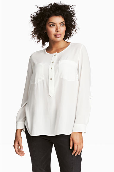 H&M+ Crêpe blouse - White - Ladies | H&M CN 1