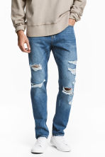 Slim Regular Trashed Jeans  - Blu denim - UOMO | H&M IT 1