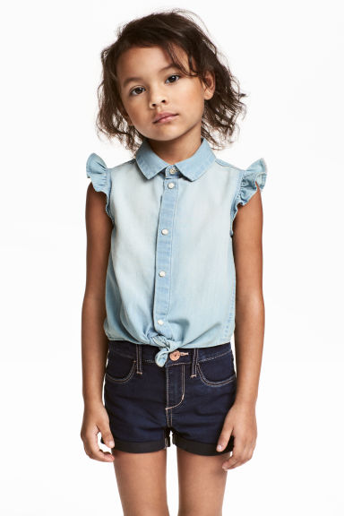 Denim tie-front blouse - Light denim blue - Kids | H&M CA 1