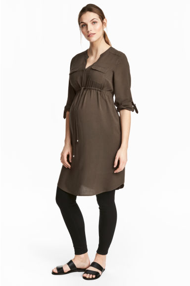 MAMA V-neck dress - Dark Khaki - Ladies | H&M