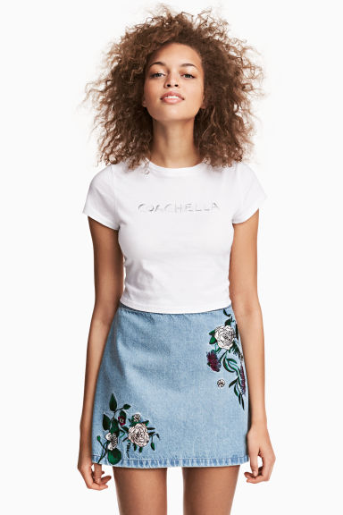 Embroidered denim skirt - Denim blue/Embroidery - Ladies | H&M