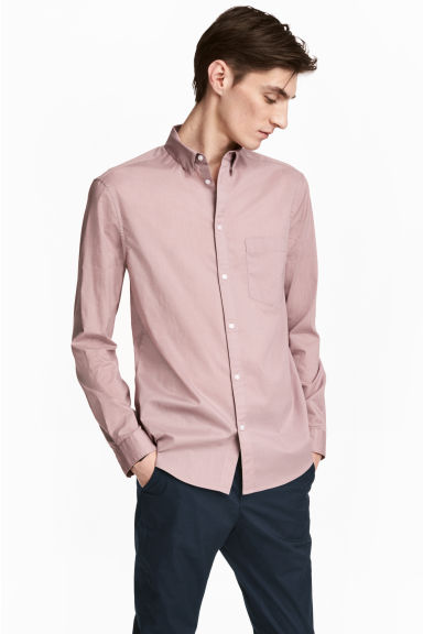 Cotton shirt Regular fit - Light heather - Men | H&M