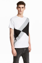 Cotton T-shirt  - White/Black - Men | H&M CN 1