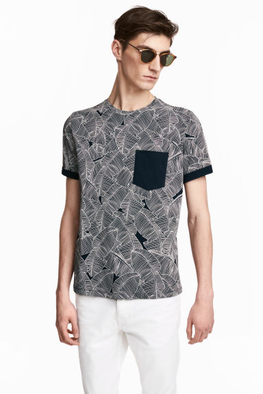 T-shirt - Dark blue/Leaf - Men | H&M CN