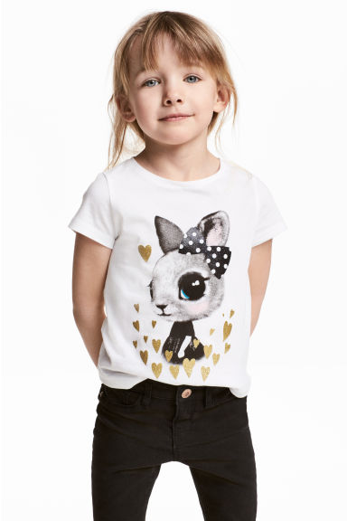 Printed top - White/Rabbit -  | H&M CN 1