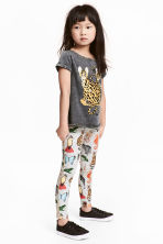Patterned leggings - Light grey marl - Kids | H&M CN 1
