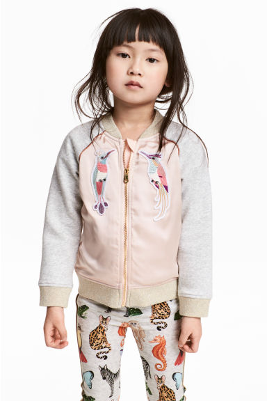 Sweatshirt jacket - Powder pink - Kids | H&M GB 1