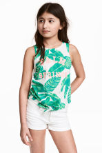 Tie-front vest top - White/Leaf -  | H&M 1