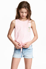 Tie-front vest top - Light pink -  | H&M 1