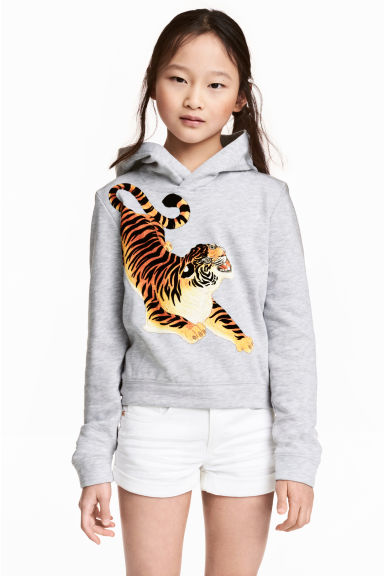 Printed hooded top - Light grey/Tiger - Kids | H&M 1