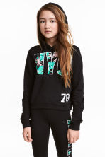 Printed hooded top - Black/New York - Kids | H&M CN 1