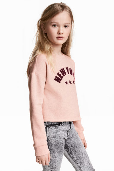 Cropped sweatshirt - Powder pink/New York -  | H&M 1