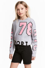 Cropped sweatshirt - Grey marl -  | H&M CN 1