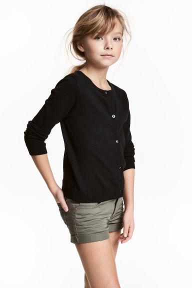 Fine-knit cardigan - Black - Kids | H&M 1