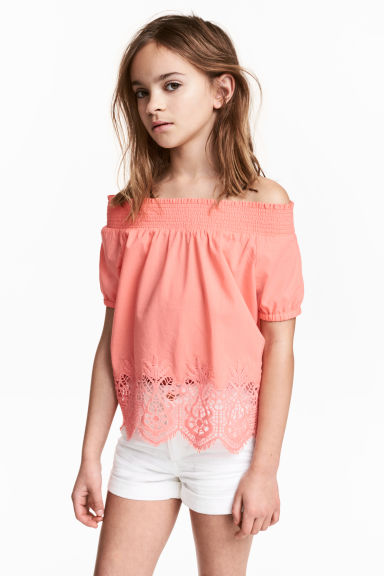 Cotton lace top - Coral pink -  | H&M 1