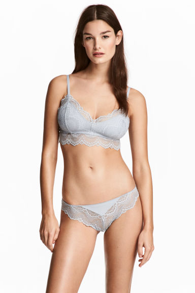 Lace briefs - Light grey - Ladies | H&M 1