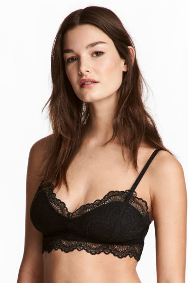 Bralette in pizzo - Nero - DONNA | H&M IT 1