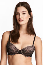 Padded underwired lace bra - Black/Brown - Ladies | H&M CN 1