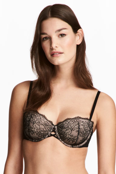 Balconette bra in lace - Black -  | H&M CN
