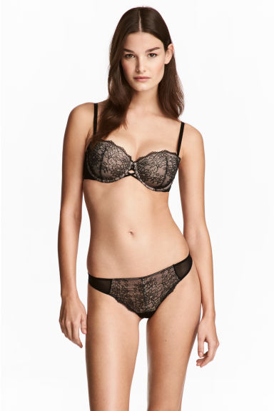 Lace and mesh thong briefs - Black - Ladies | H&M CN 1