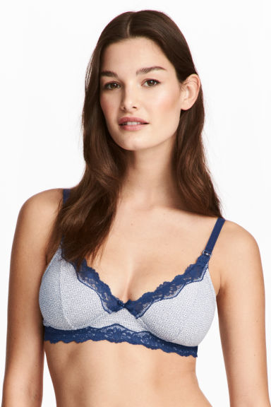 MAMA 2件入哺乳胸罩 - Dark blue/Patterned - Ladies | H&M 1