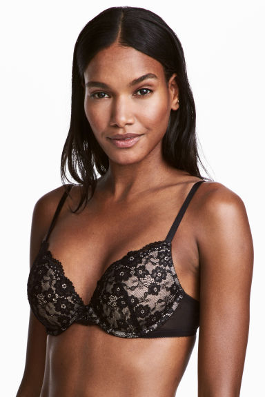 Lace push-up bra - Black/Powder - Ladies | H&M CN 1