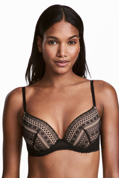 Reggiseno push-up in pizzo - Nero/beige - DONNA | H&M IT 1