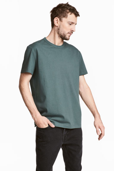 Pima cotton T-shirt - Grey green - Men | H&M CN 1