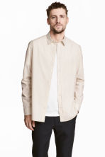 Pima cotton poplin shirt - Light beige - Men | H&M CN 1