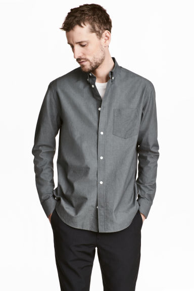 Pima cotton Oxford shirt - Grey - Men | H&M 1
