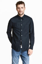 Linen shirt - Dark blue - Men | H&M 1