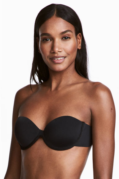 Self-adhesive microfibre bra - Black - Ladies | H&M CN 1