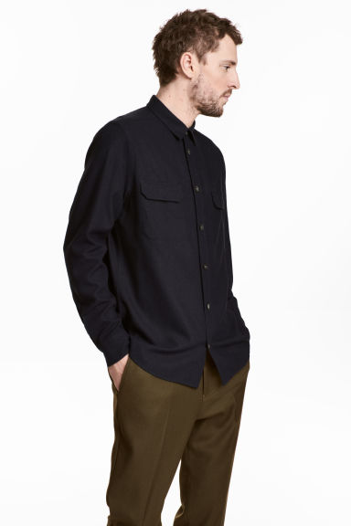 Silk utility shirt - Black - Men | H&M 1