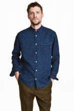 Linen-blend denim shirt - Dark denim blue - Men | H&M 1