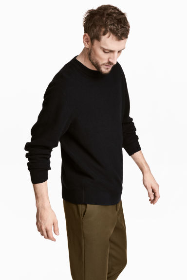 Linen-blend jumper - Black - Men | H&M 1