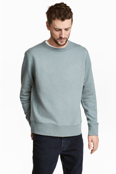 Silk-blend sweatshirt - Light petrol - Men | H&M 1