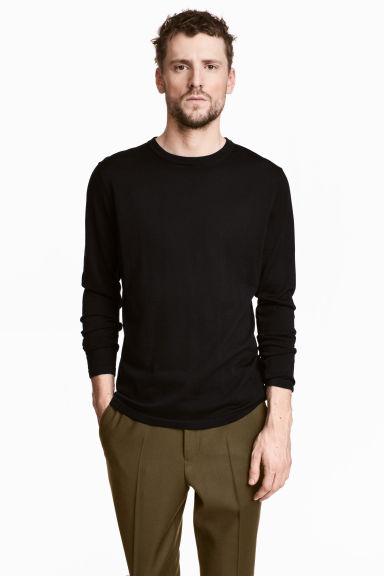 Silk-blend jumper - Black - Men | H&M 1