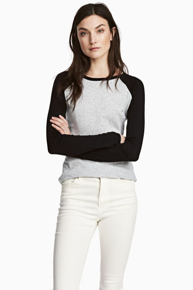 Jersey top - Black/Grey marl - Ladies | H&M 1